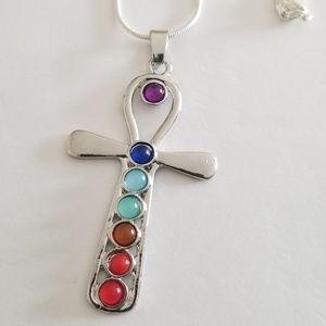 Anhk Chakras cross, and Bracelet Set